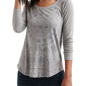 Lucky Brand Foil Medalion Graphic Top